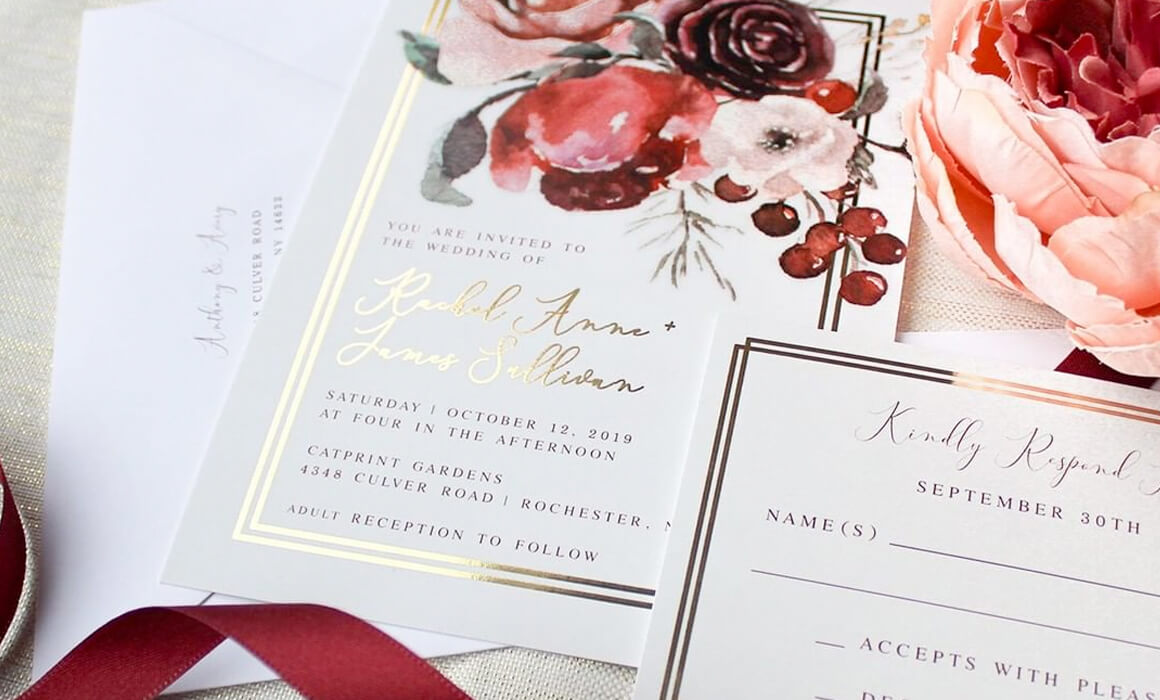 Custom Gold Foil Wedding Invitation Suite